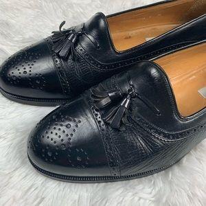 Mezlan Barcelona Black Cap Toe Wingtip Tassle Shoe
